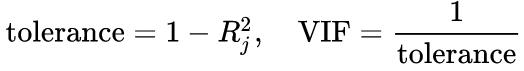 Formula to calculate VIF