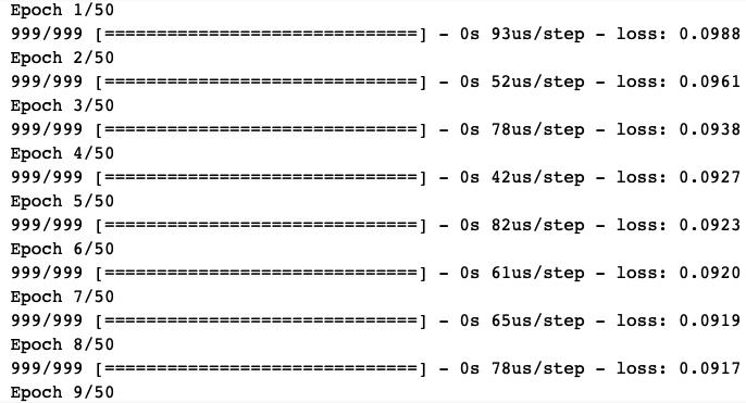 ANN regression model fit log output