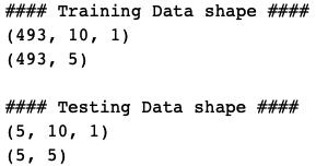Training and Testing Data shape for Multi step LSTM model